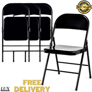 4 PACK Steel Folding Chair Seat Portable Party Office Garage Guests Black Gr NEW