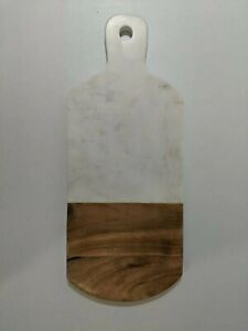 west elm White Marble Wood Cutting Board With Handle NEW with DEFECTS.