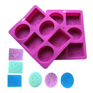 6 Cavity Leaves Rectangle Soap Mold Silicone Craft DIY Making Homemade Tool GBP 6.29