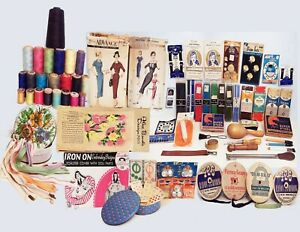 LARGE VINTAGE 1940#x27;S 50#x27;S GROUP OF SEWING ITEMS PATTERNS THREADS BUTTONS ETC $72.00