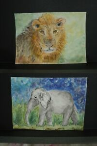 Original Watercolor Painting African Animals Set of Elephant amp; Lion Each 5quot;x7quot; $13.99