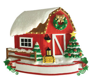 New Barn Personalized Christmas Ornament