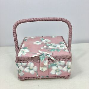 Vintage Sewing Box Basket Dogwood Floral Mauve Pink Fabric Covered Country Chic $20.00