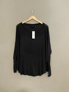Out From Under Large Black Oversized Semi Sheer Top Long Sleeve NWT $12.99