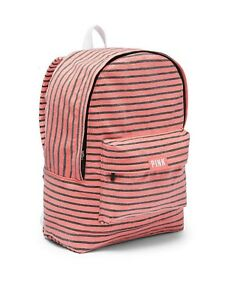 Victoria#x27;s Secret PINK Backpack Lightweight Canvas School Campus Travel Bag Tote