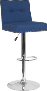 Flash Furniture Chrome And Metal Bar Stool In Blue Fabric DS 8411 BLU F GG