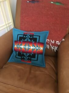 Pendleton Chief Joseph Pillow Turquoise Made in USA Wool Down Filled