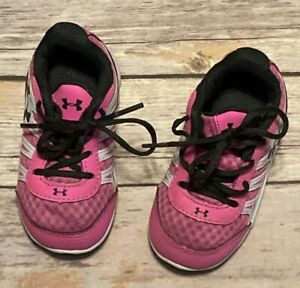 Under Armor Girls Toddler Pink amp; Black Tennis Shoes Sneakers Size 5 $18.00