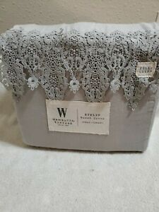Wamsutta Vintage Evelyn Embroidered Lace full queen Duvet Cover . 1 Piece