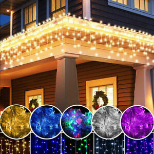 4M LED Fairy String Snowing Icicle Curtain Light Christmas Party Decor Outdoor