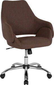 Flash Furniture Chrome And Metal Chair In Brown Fabric Finish CH 177280 BR F GG