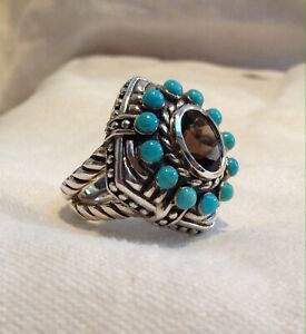 DESIGNER STERLING TOPAZ amp; TURQUOISE DOUBLE CABLE BAND RING SZ 6.5 SX THAILAND
