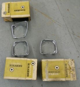 NORS PONTIAC 1967 BONNEVILLE SET 3 CHROME HEADLAMP BEZELS 16