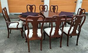 Thomasville Dining Set Table w 2 Leaves 8 Chairs Table Cover Pads READ