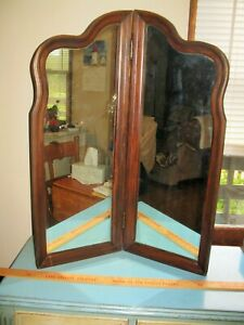 Large antique stand alone bi fold mirror dresser or wall $150.00