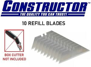CONSTRUCTOR 10 Replacement Blades Heavy Duty for Utility Knife Box Cutter