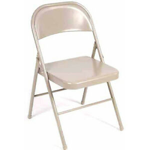 4 Pack Steel Folding Chair Easy Set Up Heavy Duty Power Coated Antique Linen