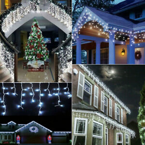 672 LED Curtain Icicle String Fairy Light Christmas Tree Party Decor In Outdoor