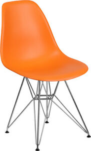 Flash Furniture Chrome Polypropylene Chair in Orange Finish FH 130 CPP1 OR GG