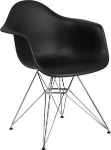 Flash Furniture Chrome Polypropylene Chair With Black Finish FH 132 CPP1 BK GG