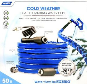 Camco Freeze Ban 2000 50 ft Heated Drinking Water Hose RV Camping Outdoor