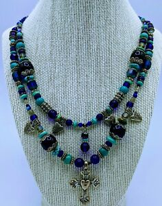 Vintage ROBERT SHIELDS MULTIBEADS Turquoise STERLING SILVER NECKLACE 18quot; 91grams $179.00