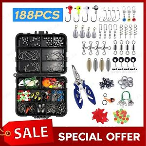 188PCS Fishing Accessories Kit Pliers Jig Hooks Swivels Tool with Tackle Box USA