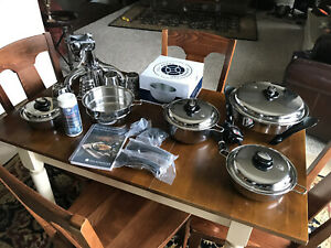 SALADMASTER 316Ti Titanium Cookware Set w Electric Skillet Chopper New Version