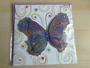 Papyrus All Occasions Card with layered 3 D Butterfly with Gems Gorgeous