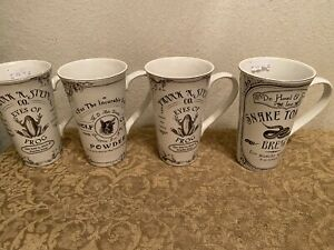 4X Set 222 Fifth Hallow Apothecary Halloween Tall Coffee Mugs Cups