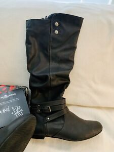 Fergicious Lyla Tall Faux Leather Slouch Boot In Grey $79 Size 7.5M