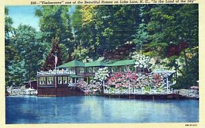 Timbercove One Of The Beautiful Homes On Lake Lure NC Linen Vintage Postcard
