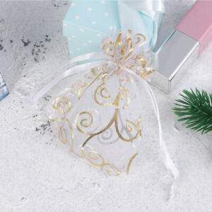 100pcs Gift Bag Creative Organza Drawstring Bags for Gift Jewelry Party