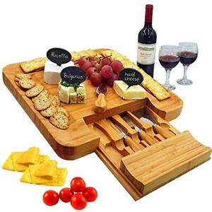 Bamboo Cheese Board amp; Cutlery Set with Slide Out Drawer 4 Stainless Steel Kni...