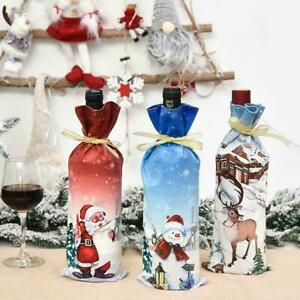 Christmas Wine Bottle Cover Table Decor Xmas Bags Snowman New Santa Year F7F0