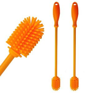 2 Pack Silicone Bottle Brush Cleaner Cleaning Brush for Glass Bottles Orange $10.99