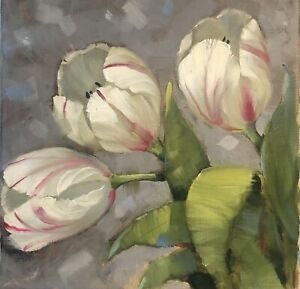 "Original Painting Tulips Contemporary 10""x10"" Oil Wall Art $100.00"