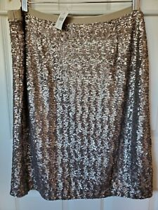 J. Jill Sequined Knit Pencil Skirt Current Style $119.00 Taupe Petite Large $34.99