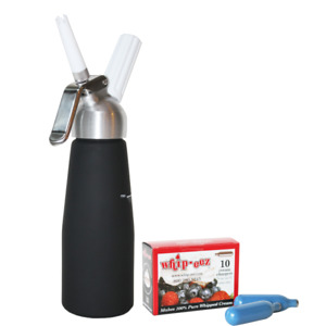 1 2 Liter BLACK Whip Cream Dispenser with 10 cream chargers FREE SHIPPING