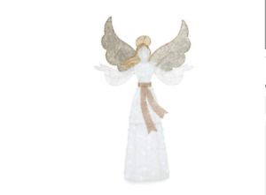 White Lights Angel Sculpture Outdoor Christmas Yard Decor Gold Display 5 Ft Lawn $124.95