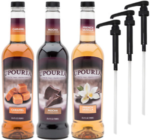 Upouria Coffee Syrup Variety Pack French Vanilla Mocha and Caramel Flavoring $41.99