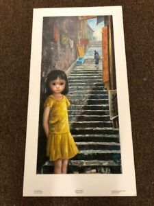 Walter Keane Margaret Lithograph Print Vintage Big Eyes Girl of China 1960#x27;s $24.00
