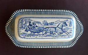 Royal China CURRIER amp; IVES Vintage BUTTER DISH 2 Piece Set Horse Buggy Carriage $14.90