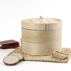 2 Tier Bamboo Steamer 8quot; Chinese Dim Sum Basket Rice Pasta Cooker Cook Set w Lid