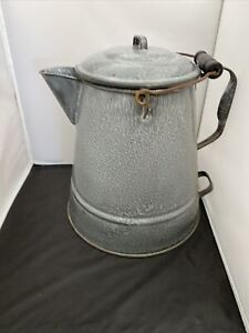 Early 1900#x27;s GraniteWare Large 2 Gal. Camp Coffee Pot Large Double Handles Wood $130.50