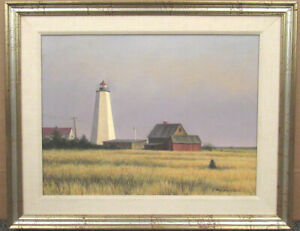 c. 1975 Lyme Art Association Artist Ron Saporito Lighthouse Painting $475.00