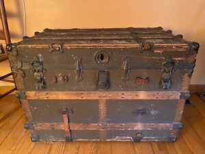 Vintage Antique Steamer Trunk Flat Top Rustic Colonial Chest 1890 1900s $65.00