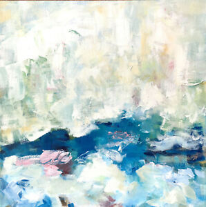 ABSTRACT IMPRESSIONISTIC SEASCAPE ORIGINAL ACRYLIC PAINTING $200.00