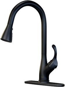 Matte Black Color Kitchen Sink Faucet Pull Down Sprayer Swivel w Cover Mixer Tap $49.92