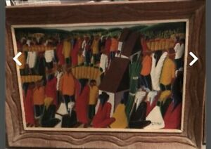 Laurent Casimir Haitian Oil Framed Large Colorful Nice $399.00